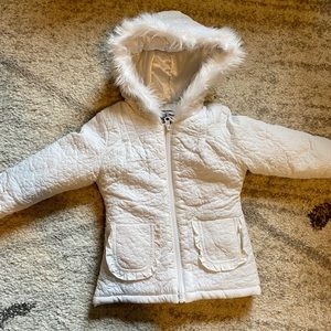 Girls Winter Coat Fur Hood Bow Back 18 mos